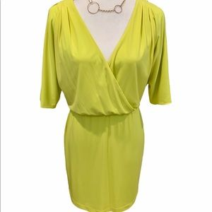 Jessica Simpson neon yellow deep V dress. Sz XS.